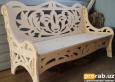 Скамейка, выполнена из фанеры и обработана на ЧПУ станке.