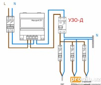 Однофазная электромонтажная схема