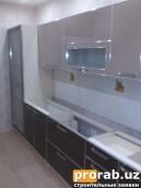Кухонный гарнитур.Материал:Фасад,акриловый МДФ,каркас ЛМДФ,кромка ПВХ,алюминий.
