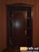 Дверь из материала МДФ шпонированный обкладной цена от 350.000 сум м2