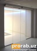 безрамные цельно-стеклянные раздвижные автоматические двери