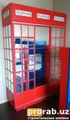 Шкаф купе в детскую комнату в виде Английской Телефонной Будки с зеркальными панелями.