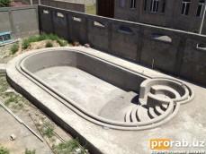 Залитая и отштукатуренная чаща бассейна